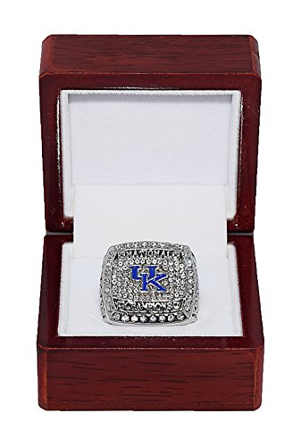 University of Kentucky Wildcats 2012 March Madness NCAA NATIONAL CHAMPIONS Rare & Collectible High-Quality Replica NCAA Basketball Silver Championship Ring with Cherrywood Display Box from Trackside Autographs