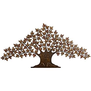 deco 79 63186 rustic metal tree wall decor 48 by 24 inch brownblack - Metal Tree Wall Decor