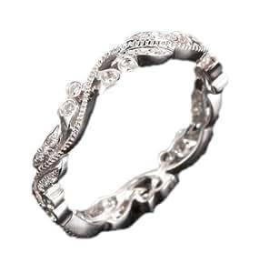 Diamond Wedding Band Eternity Anniversary Ring 14K White Gold,Art Deco Antique Floral Filigree,Estate Vintage