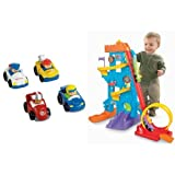 Fisher-Price Little People Wheelies All About Racing and Loops 'n Swoops Amusement Park Bundle