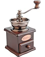 Casa Barista Manual Coffee Grinder Wood Metal Hand Mill Retro Wodden Antique Style for Coffee Beans Herbs and Spices