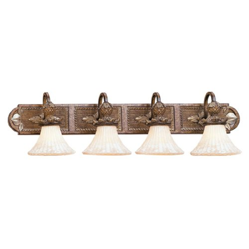 Livex Lighting 8455-57 Bath Vanity with Vintage Carved Scavo Glass Shades, Venetian Patina