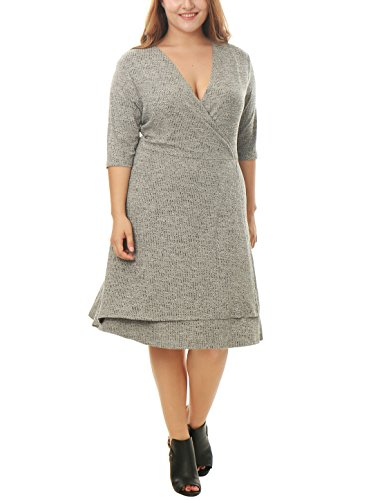 Agnes Orinda Women Plus Size Crossover V Neck Heathered Wrap Knit Dress Grey 3X