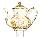 Green Pastures Wholesale Butterfly Teapot Porcelain Night Light, 5-Inch by 4-Inch by 6-Inch