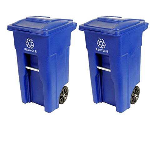 Toter Residential Heavy Duty 2-Wheeled Recycling Can with Attached Lid, 48-Gallon, Blue (2)