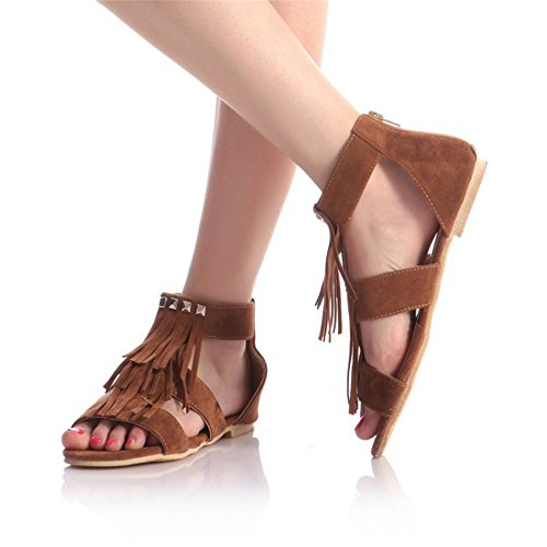 DE Flats QXH Fino Sandalias Zapatos Mujer Redonda Cremallera Cabeza Pa o Brown de fqSXOwrWS