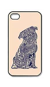 RainbowSky iPhone 4 4G 4S Case - Cute Pug Dog Animal Hard Plastic Back Protection Phone Case Cover -458