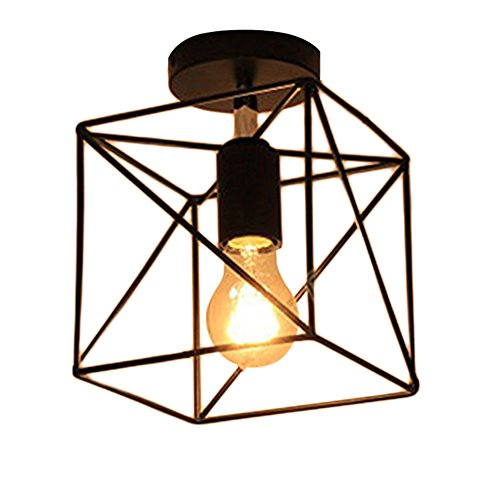(Square Cage Ceiling Light, Motent Industrial Vintage Wire Cage Drop Light Shade Black Metal Semi Flush Mount Ceiling Lamp Fixture Creative Hollow Out Chandelier for Balcony Hall Loft - 6.2)