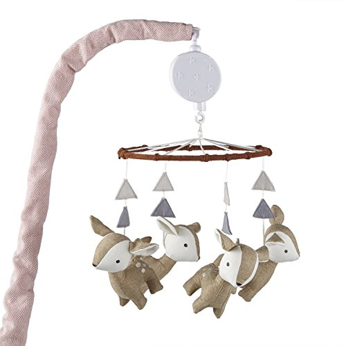 (Levtex Baby Delia Brown and White Woodland Deer Musical Mobile)