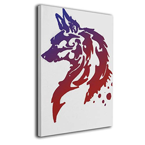 (Warm-Tone Art Wolf Tattoo Canvas Prints Wall Art Oil Paintings for Living Room Dinning Room Bedroom Home Office Modern Wall Decor 16x20 Inch)