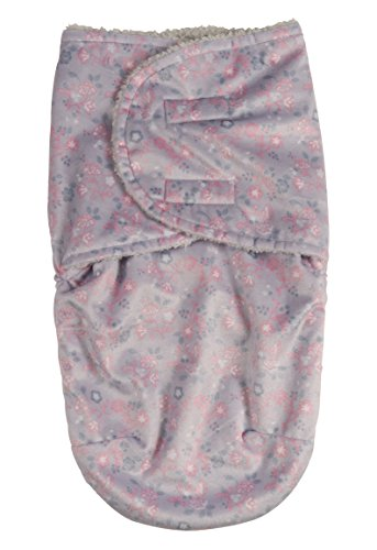 (Laura Ashley Infant Swaddle Sack, Gray Floral Print on Mink with Sherpa Lining)