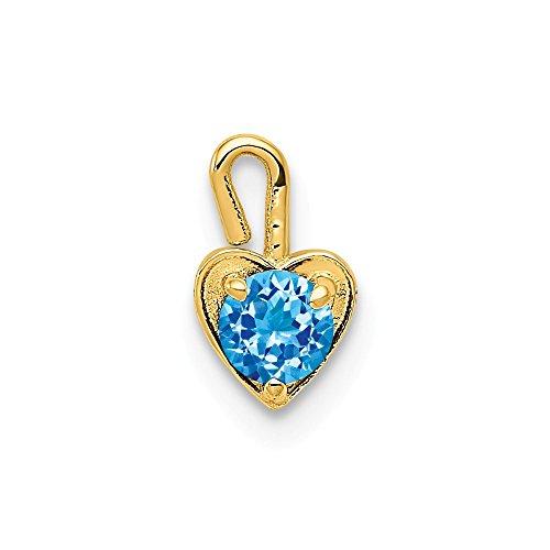 (12) December Pendants & Charms 4 mm 7 mm 14K Yellow Gold December Synthetic Birthstone Heart - 14k Heart Mm 7
