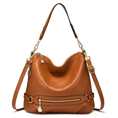 (Genuine Leather Handbags for Women Large Designer Ladies Shoulder Bag Bucket Style [Brown)