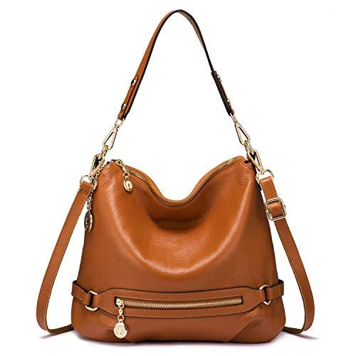 Petite Hobo Handbag - Genuine Leather Handbags for Women Large Designer Ladies Shoulder Bag Bucket Style [Brown ]