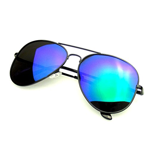 - Aviator Sunglasses Mirror Lens New Men Women Fashion Frame Retro Pilot (Polarized Lens | Black Green, 0)