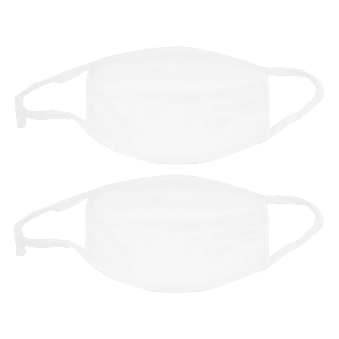 2 Pcs White Cotton Blends Earloop Face Mouth Mask Muffle