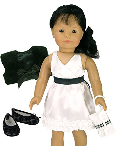 Gathered Bow Flats (Dressy Doll Clothes, White Satin Dress with Black Sash Bow, Matching Clutch, Black Fur Cropped Sleeveless Jacket and Animal Print Flats, Complete Dressy 4 Pc Set by Sophia's)