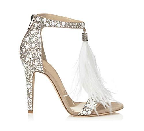 Shoes-YMJ Women's PU(Polyurethane) Summer Basic Pump Sandals Stiletto Heel Open Toe Rhinestone Almond/Wedding Party & Evening,US6/EU36/UK4/CN36