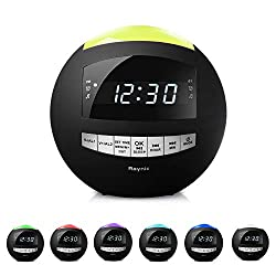 Digital LED Alarm Clock Radio - Raynic AM/FM Radio, 7-Color Night Light with Dimmer, Dual Loud Alarms with Snooze, Bluetooth Speaker, for Kids, Heavy Sleeper, Bedrooms