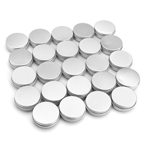 (24Pcs 25G Aluminum Round Empty Jar Tin Screw Top Lid Cosmetic Sample Storage Container)