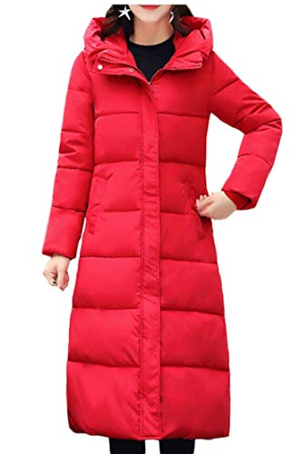 Jackets Red TTYLLMAO Down Long Warm Hooded Down Thick Coats Womens Winter xwxv1z