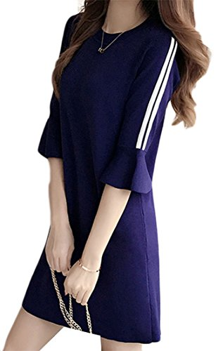Stylish Women's Half Round Neck Striped Cromoncent Dark Midi Blue Sleeve Dress Flare t5qnWpwd