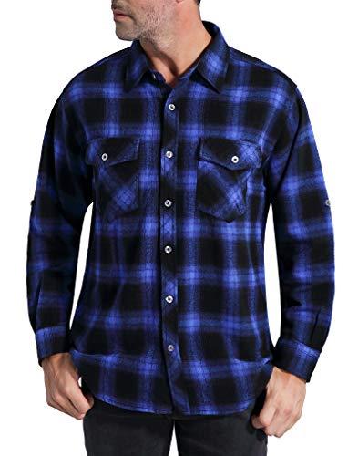 Coevals Club Men's Long Sleeve 100% Cotton Fleece Plaid Flannel Shirt (#1 Blue/Black, ()