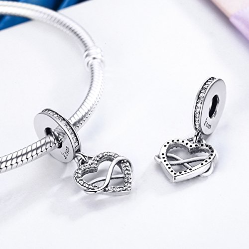 BAMOER Sterling Silver Infinity Love Symbol Dangle Heart Beads Charm for Bracelet by BAMOER (Image #2)
