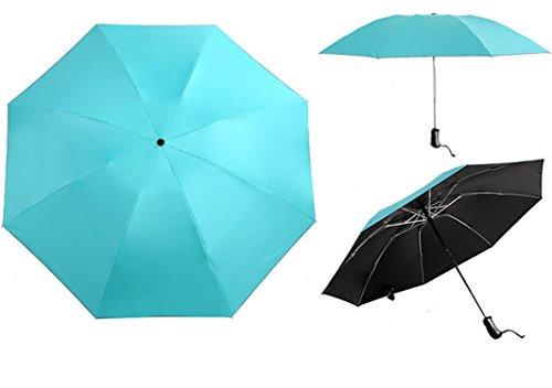 QIANNVSHEN Stripe UV Protection Inverted Folding Umbrella Windproof Auto Open & Close Parasol Sky Blue by QIANNVSHEN