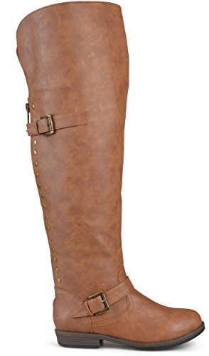 Leather Thigh Brown Boots High - Brinley Co Women's Sugar Over The Over The Knee Boot, Chestnut, 9 Wide/Wide Shaft US