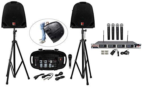 Rockville Portable YouTube Karaoke Machine/System w/ Mixer+Stands+(5) Mics