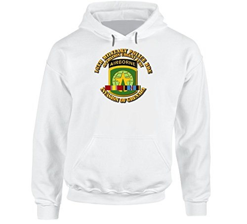 SMALL - Army - Invasion Of Grenada -16th Mp Bde Operation Urgent Fury W Svc Ribbons Hoodie - White ()