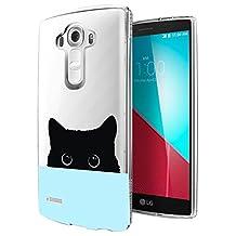 c0347 - Cute Black Cat Peeking Head Design LG G4 Fashion Trend CASE Gel Rubber Silicone All Edges Protection Case Cover
