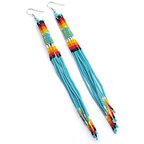 - Viva Handmade Turquoise Green Color Glass Seed Beaded Earrings Extra Long Handmade E-53-SB-25
