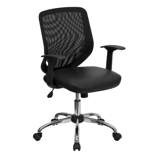 Flash Furniture LF-W95-LEA-BK-GG Mid-Back Black Office Chair with Mesh Back and Italian Leather Seat (Italian Leather Seat)