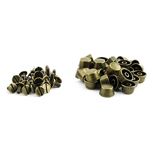 ZRM&E 30pcs 12mm Handbag Bottom Protecting Feet Flat-Topped Cone Head Screwback Studs DIY Metal Spikes for Leather Craft Bag Shoes Clothes Decoration Bronze
