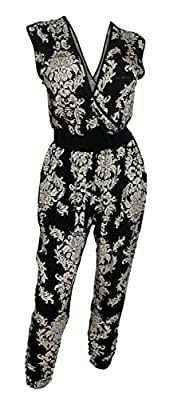 eVogues Plus Size Paisley Print Deep V-Neck Jumpsuit