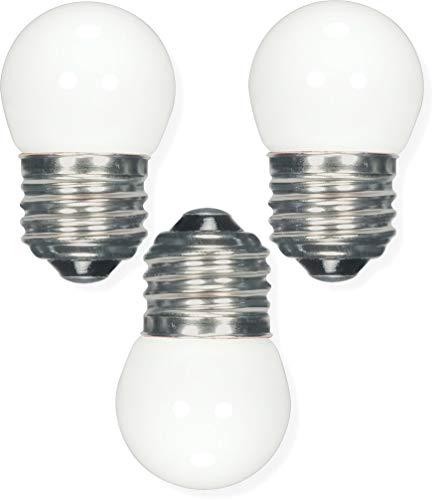 Satco S9161 Miniature LED Light Bulb, White Finish, Pack of 3, 1.2 Watts, 120 Volts, 40 Initial Lumens, S11 Lamp Shape, Medium Base, E26 ANSI Base, 2-5/16'' MOL, 1-3/8'' MOD, 25000 Average Rated Hours