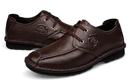 Brown Hombre Cuero Negocios Zapatos Transpirables 41 Mlsopx De Vestir Para wBZ8t7