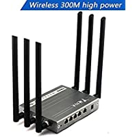 Wireless Wi-Fi Router , jomoq High Power Megabit Router with 6x6dBi Antennas, Super Strong Signal apply to Hotels, Villas, Restaurant and other Large Area, Metal Computer Router (black)