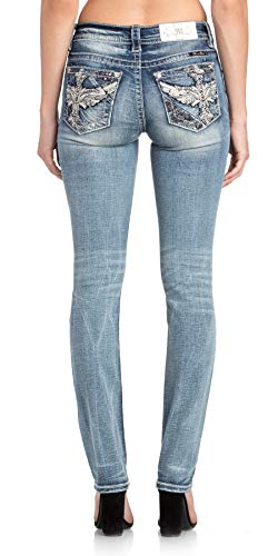 (Miss Me Women's Winged Cross Embellished Mid-Rise Straight Leg Jeans (Medium Blue, 34))