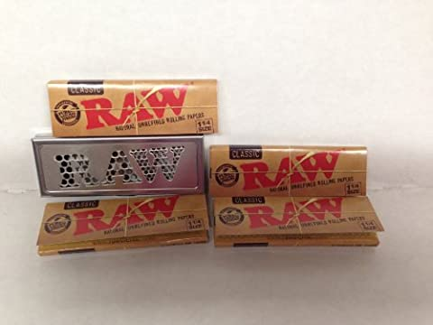 Bundle RAW Natural Unrefined 1 1/4 Rolling Papers 4 Packs With Raw Shred Case 1 1/4