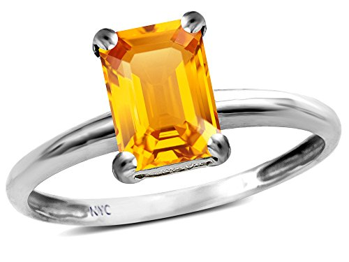 (Star K Classic Octagon Emerald Cut 8x6mm Genuine Citrine Solitaire Engagement Promise Ring 10k White Gold Size 6)