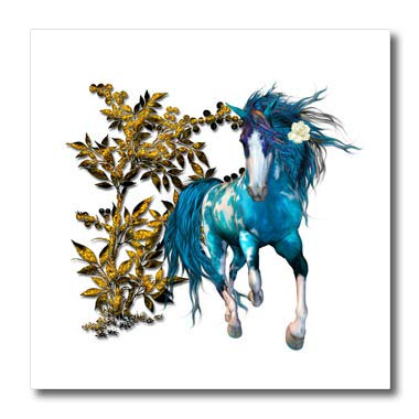 3dRose SpiritualAwakenings Unicorns - Beautiful Blue Unicorn and Golden Floral Accented follage - 8x8 Iron on Heat Transfer for White Material (ht_317035_1)