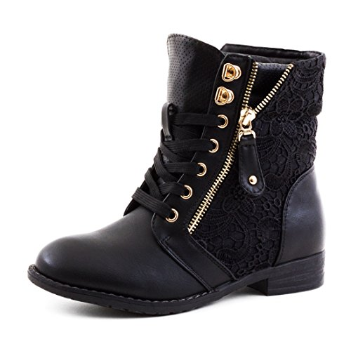 Damen Stiefel Stiefeletten Biker Boots Spitze Lederoptik leicht gefüttert Schwarz 41