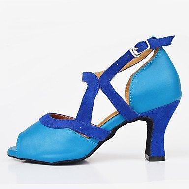 Salsa Hæle Sort latino tilpasses Custom Moderne blå Dansesko Sort SUqBBf
