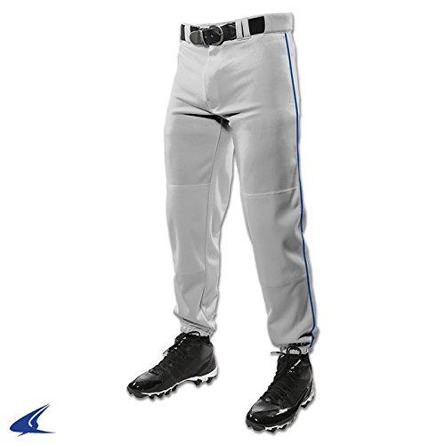 Champro Closed Bottom Baseball Pants W/ Piping - Grey with Royal Piping - Large