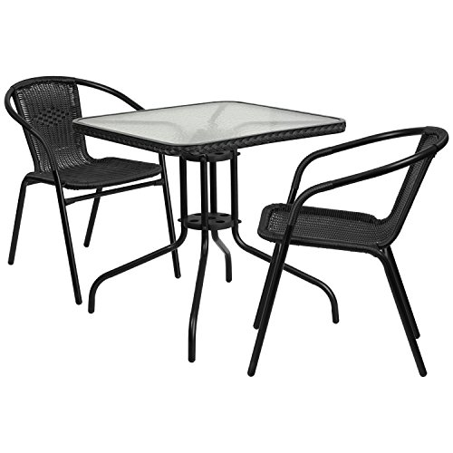 Flash Furniture 28'' Square Glass Metal Table with Black Rattan Edging and 2 Black Rattan Stack Chairs