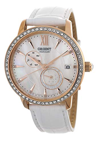 ORIENT Ladies Swarovski Automatic 'Sun and Moon' Pearl Dial Rose Gold Watch RA-AK0004A