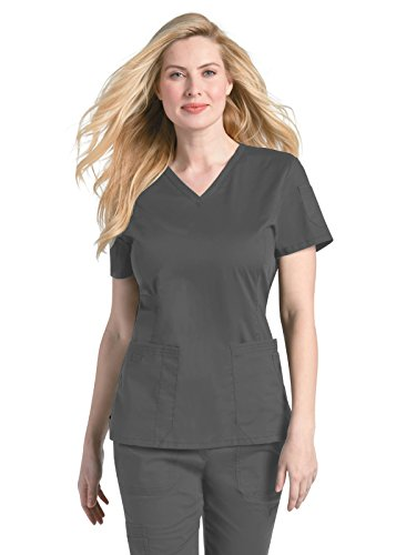 Landau Women's Prewashed V-Neck Two Pocket Scrub Top, Steel Grey, (Landau 2 Pocket)